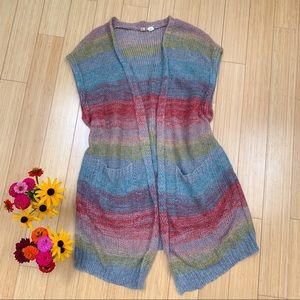 Anthropologie MOTH Rinda rainbow duster cardigan S